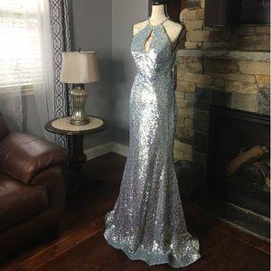 Jovani Blue Nude Keyhole Prom Pageant Dress